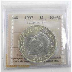 1937 Canada 1.00 MS64. ICCS.