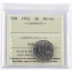 1922 Canada 5 Cents. MS-64. ICCS. (MIE)