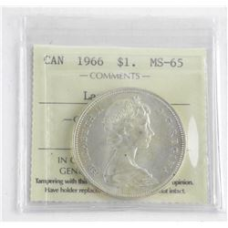 1966 Canada Silver Dollar. MS64. Large Beads