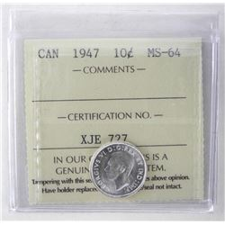 1947 Canada 10 Cent Coin. MS64. ICCS.