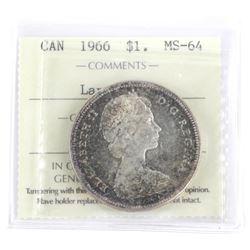 1966 Canada Silver Dollar MS64 ICCS.