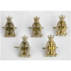 Lot (5) Queen's Crown Le Regt De Chateauguag Arm Badges