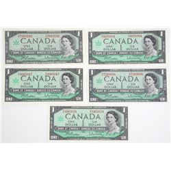 Lot (5) 1967 Bank of Canada One Dollar Note. Centennial UNC