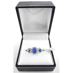 925 Sterling Silver Ring with 3 Sapphire blue Swarovski Elements. Size 8