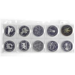 Grouping of (10) Canada Silver Dollars UNC