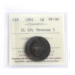 1891 Canada Large Cent VF30 - LL LD ; Obverse 2 ICCS