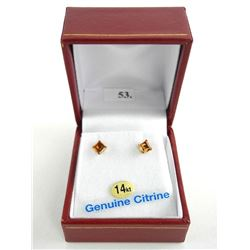 (BB53) 14kt Gold Square Yellow Citrine Stud Earring (.78ct) TRRV: $240.00