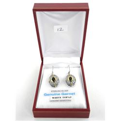 (BB12) 925 Silver Diamond and White Topaz Earring 2.26ct TRRV: $500.00
