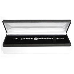925 Silver Pear Cut Swarovski Elements Cluster Bracelet