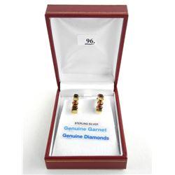 (BB96) 925 Silver Custom Earring 18 Garnets and Diamonds (5.76ct) TRRV: $900.00