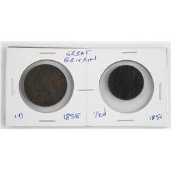 Pair Great Britain Coins 1854-1858
