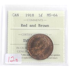 1918 Canada Large Cent MS-64 Red and Brown. ICCS