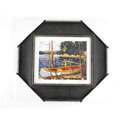 """Tom Thomson (1877-1917) Studio Litho Panel 'The Canoe' 14x15"""" Framed"""