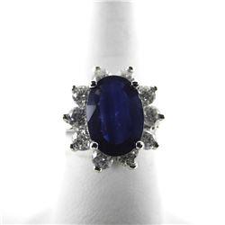(CES03) Ladies 18kt Gold Custom Ring, 2.07ct Oval Blue Sapphire 1.00ct (VS-SI) Diamonds TRRV: $15,50