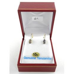 (BB61) 10kt Gold Tanzanite Earrings Oval Cut (1.12ct) TRRV: $870.00