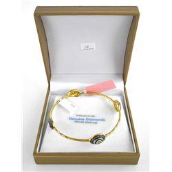 (BB19) 925 Silver and 10kt Gold Bangle Bracelet, Hammered Finish, 1.13ct Diamonds TRRV: $1655.00