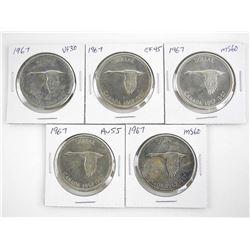 Lot (5) 1967 Silver Dollars