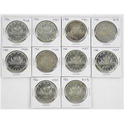 Lot (10) Canada Silver Dollars, Graded