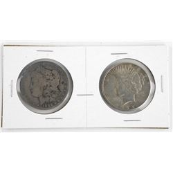 Lot (2) USA Silver Dollars: 1888 and 1922