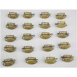 Lot (10) Pair Fort Garry Horse Brass Titles