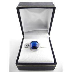 925 Silver Ring - Cushion Cut Sapphire Blue Swarovski Elements. Size 6