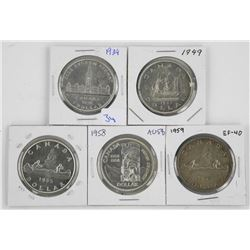 Grouping of (5) Canada Silver Dollars: 1939, 1949,