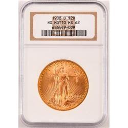 1908 D $20 Gold Coin No Motto Saint Gaudens MS 62