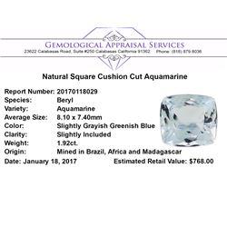 1.92 ct.Natural Square Cushion Cut Aquamarine