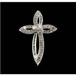 0.60 ctw Diamond Cross Pendant - 10KT White Gold