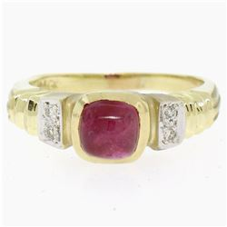 14k Yellow Gold 1.21 ctw Cabochon Ruby Solitaire Ring w/ 4 Diamond Accents