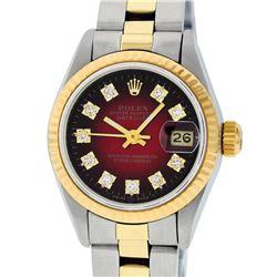 Rolex Ladies 2 Tone 14K Red Vignette Diamond 26MM Datejust Wristwatch