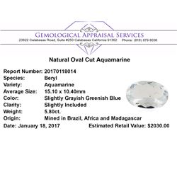 5.80 ct.Natural Oval Cut Aquamarine