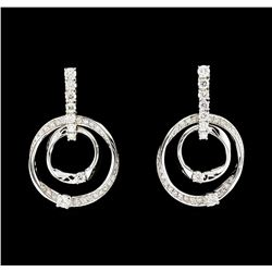 1.01 ctw Diamond Earrings - 14KT White Gold