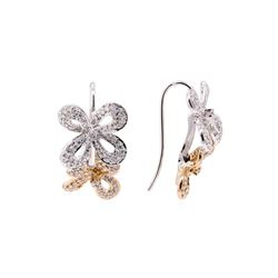 0.50 ctw Diamond Floral Motif French Wire Earrings - 14KT Rose and White Gold