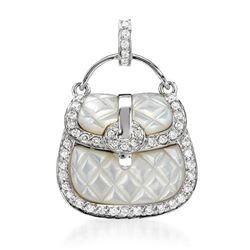 18k White Gold 0.45CTW Mother Of Pearl and Diamond Pendant, (I1-I2/White/H-I)