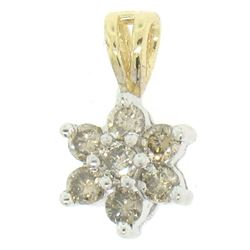 10K White & Yellow Gold 0.50 ctw 7 Champagne Diamond Flower Cluster Pendant