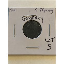 1940 Germany 5 Pfennig Nice Early Coin