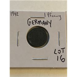 1942 German 1 Pfennig Nice Early Coin