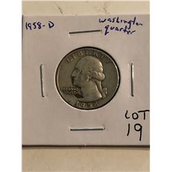 1958 D Washington Silver Quarter Dollar Nice Early US Coin