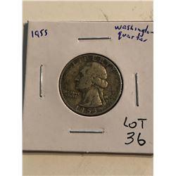 1955 Washington Silver Quarter Dollar Nice Early US Coin