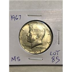 Beautiful 1967 Silver Kennedy Half Dollar MS High Grade
