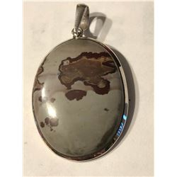 Large Sterling Silver and JASPER Gemstone Pendant Total weight 13.1 grams