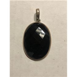 Large Diamond Cut Black ONYX and Sterling Silver Pendant Total Weight is 13.4 Grams Beautiful