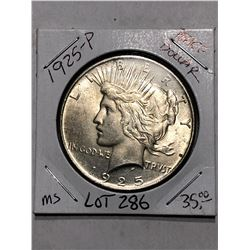 MS High Grade 1925 P Silver Peace Dollar Nice Early US Coin