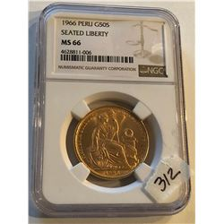 Extremely Rare 1966 Peru GOLD 50 Soles MS66 Certified NGC
