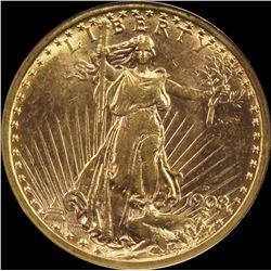 1908-D NO MOTTO $20 ST. GAUDEN'S GOLD