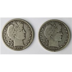 1908-O & 1908-D BARBER HALF DOLLARS