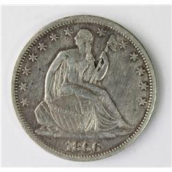 1866-S SEATED HALF DOLLAR