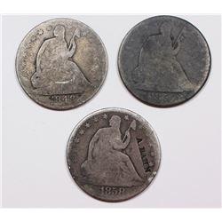 (3) SEATED HALF DOLLARS: