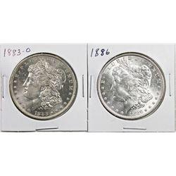 1883-O AND 1886 MORGAN SILVER DOLLAR